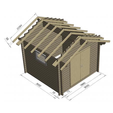 Pihavarasto Harjaysi - Kehikko ja rakenne 70 mm hirsivahvuudella