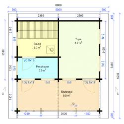 Tilatikka 70x145 - Saunatupa pukuhuoneella