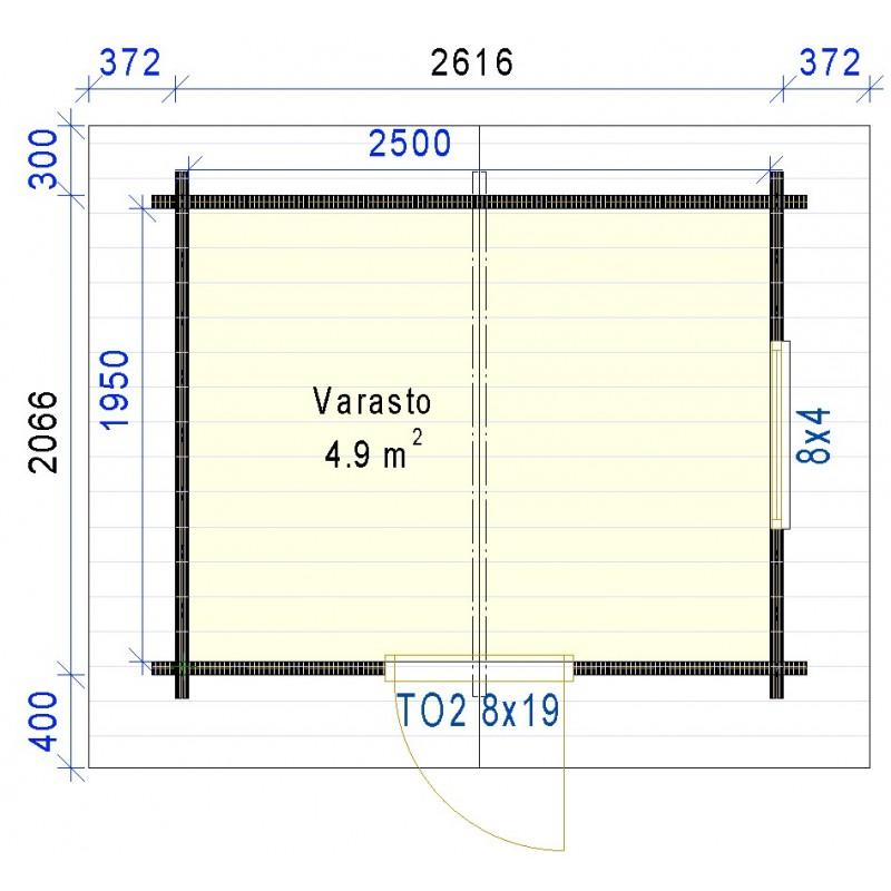 Pikkuvarasto Vitonen - Pohjakuva 58 mm hirrellä