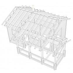 Saunamökki pikkukeidas - Hirsirunko + katon tukirakenteet