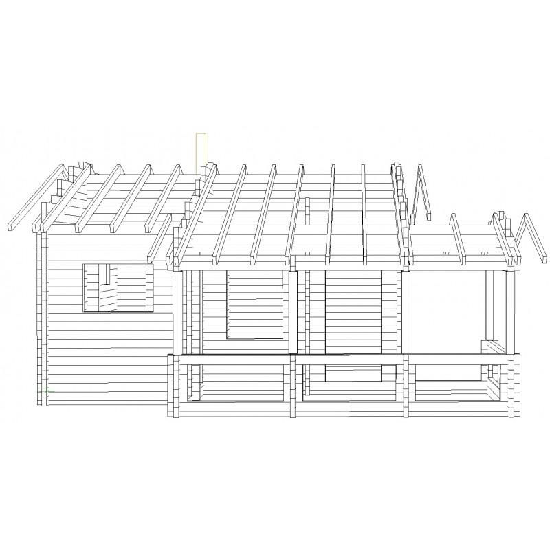 Saunamökki pikkukeidas - Hirsirunko + katon tukirakenteet edestä