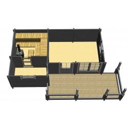 Löylykeidas - Laajennetun saunan malli - Vaakaleikkaus
