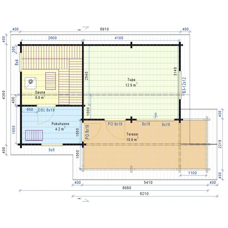 Löylykeidas - Laajennetun saunan malli - Pohjakuva