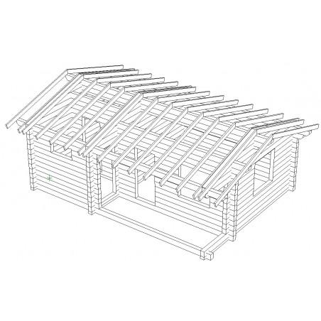 Saunamökki Sisutupa (136 mm hirsi) - Kehikko ja katon runko etuoikealta