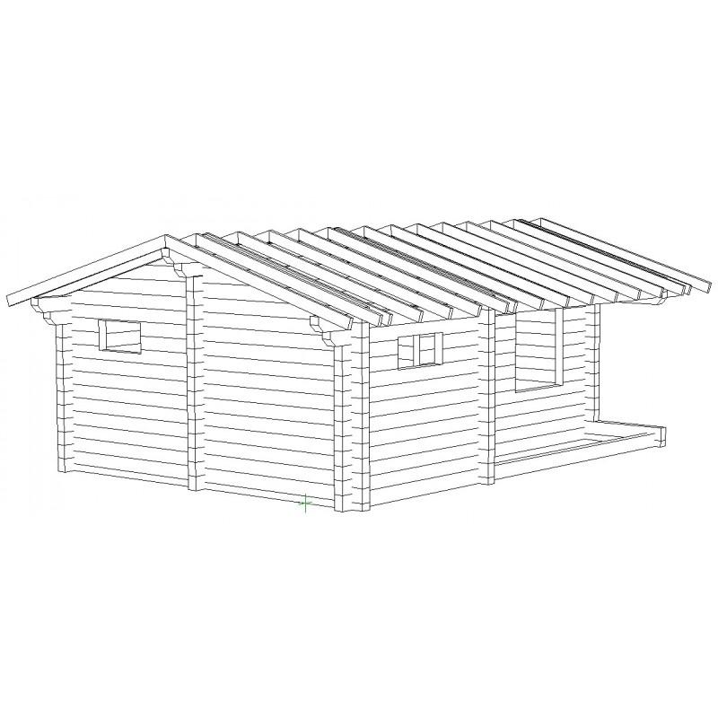 Saunamökki Sisutupa (136 mm hirsi) - Kehikko ja katon runko etuvasemmalta