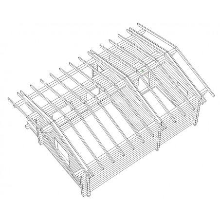 Saunamökki Sisutupa (136 mm hirsi) - Kehikko ja katon runko yläviistosta