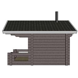 Sauna Siima (136 mm hirsivahvuus)  - Mallinnuskuva oikealta