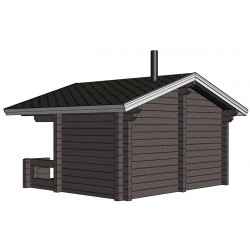 Sauna Siima (136 mm hirsivahvuus)  - Mallinnuskuva takaviistosta