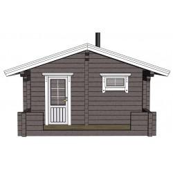 Sauna Siima (136 mm hirsivahvuus)  - Mallinnuskuva edestä