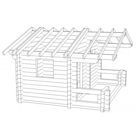 Sauna Siima (136 mm hirsivahvuus)  - Hirsikehikko ja kattokannattimet