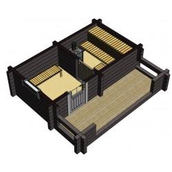 Sauna Siima (136 mm hirsivahvuus)  - Vaakaleikkaus
