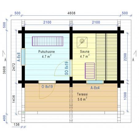 Sauna Siima (136 mm hirsivahvuus)  - Pohjakuva