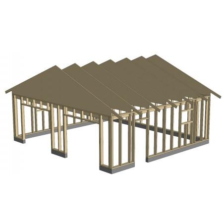 Autotalli Konsa - Runko ja kattotuolit asemoituna perustuksen päälle
